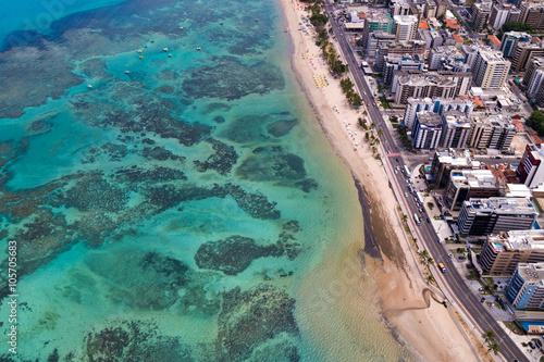 Fototapeta recifes de corais com atividades aquáticas, em Maceió.