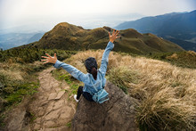 Traveller Enjoy After Reaching The Peak Of Highest Mountain.