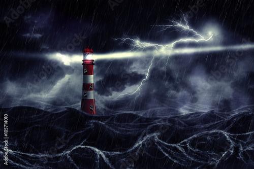 Zdjęcie XXL Burzliwe morze i latarnia morska