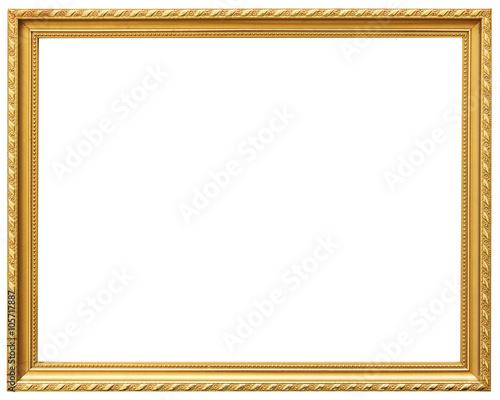 Golden Vintage Frame Isolated On White Gold Frame Abstract Design