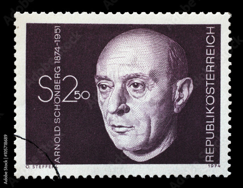 Photo  Stamp printed in Austria shows Arnold Schonberg, composer, circa 1974