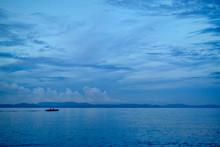 Fishing Boat At Dusk On Poliqui Bay, Legazpi, Philippines