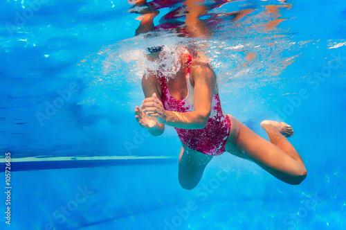 Photo  Breaststroke swimming, underwater view
