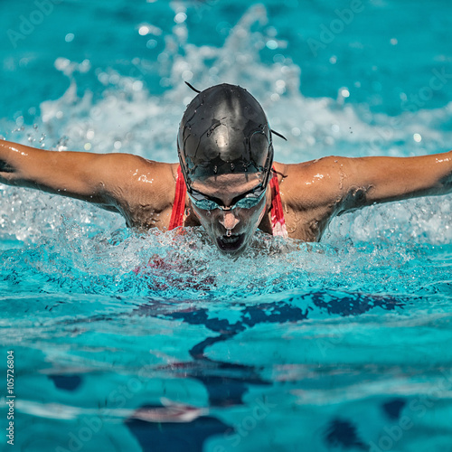 Fotografie, Tablou  Butterfly Stroke Swimming