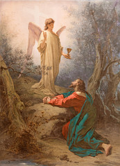 Fototapeta Do kościoła Rome - painting Christ in the Garden of Gethsemane in church Basilica di Santi Giovanni e Paolo.