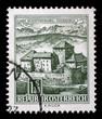 canvas print picture - Stamp printed in the Austria shows Schatten Castle, Feldkirch, Vorarlberg, circa 1967