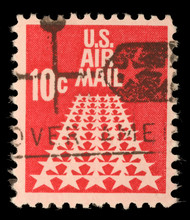 United States Postage Stamp In The Value Of 10c Used For Overseas Air Mail Deliveries Showing Air Mail Symbols And The Print U.S. Air Mail, Circa 1968