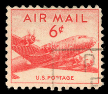 Stamp Printed In United States (USA), Shows Military Transport Aircraft Douglas C-54 (DC-4) Skymaster , Circa 1947