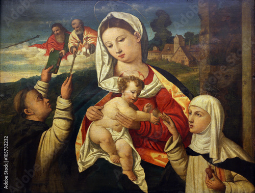 Filippo da Verona: Madonna and Child with St.. Dominic and Saint Catherine of Sienna, Old Masters Collection, Croatian Academy of Sciences in Zagreb, Croatia