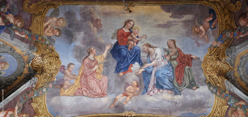 Fototapety, obrazy: Virgin Mary with the baby Jesus surrounded by saints and angels, Franciscan Church in Ljubljana, Slovenia