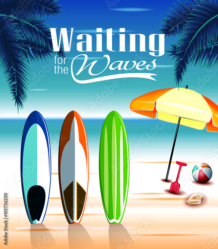Waiting For The Waves Design Concept With Standing Three Beautiful Surfing Boards At Beach