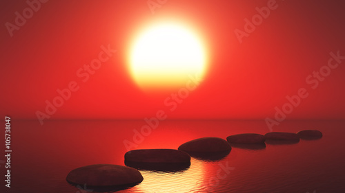 3D stepping stones in the ocean against a sunset sky