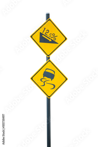 Sign road curves and slopes isolated on white background.