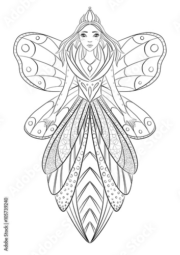 Art therapy coloring page illustration of a flower fairy ...