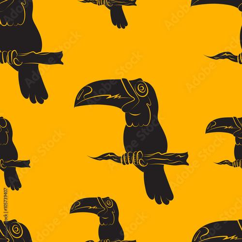 Poster de jardin Chambre bébé Vector illustration of a seamless pattern of toucan birds