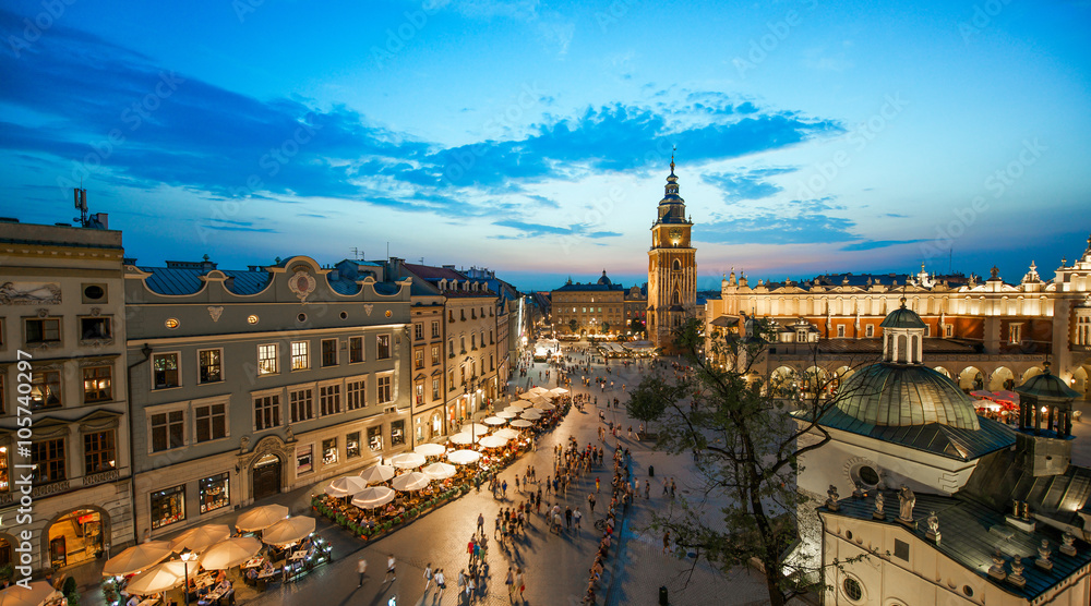 Fototapety, obrazy: Krakow market square, Poland at sunset