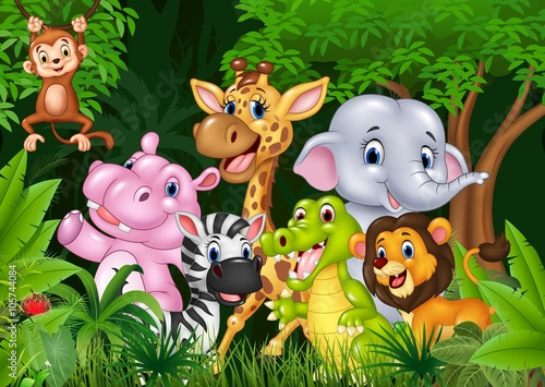 obraz PCV Cute animal africa in the jungle