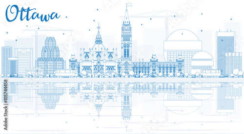 Outline Ottawa Skyline with Blue Buildings and Reflections.