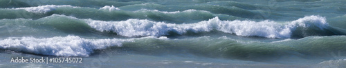 Winter waves on Lake Michigan in February at Michigan City Indiana