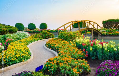 Foto auf Leinwand Bridges Wood bridge and flower garden.