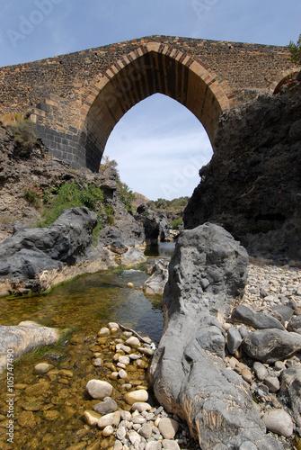 Fényképezés  Front view of the ponte dei saraceni, an ancient medieval brid
