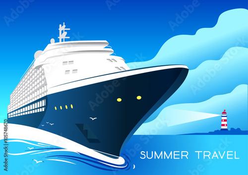 Fotografía  Summer travel cruise ship. Vintage art deco poster illustration.