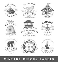 Set Of Vintage Circus Labels