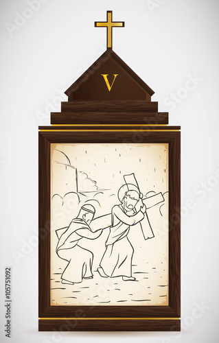 Photo Simon of Cyrene Helps Jesus Carry the Cross, Vector Illustration