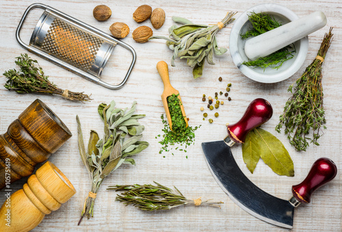 Fotomural  Cooking Ingredients and Kitchen Utensils