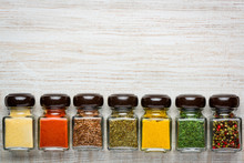 Spices In Glass Jars With Copy Space