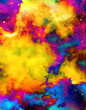 Nebula, Cosmic space and stars, color background. fractal effect. Painting effect. Elements of this image furnished by NASA.