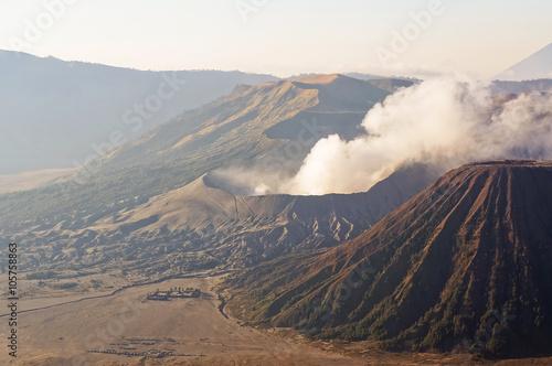 Eruption of mount Bromo in sunrise light in Bromo Tengger Semeru National Park, Wallpaper Mural
