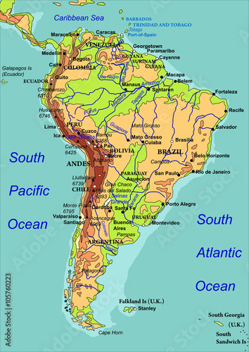 Map of South America. The names of countries, cities and ...