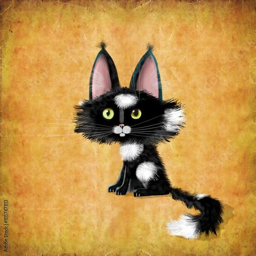 Czarny kotek z dużymi uszami i oczami na tle malowane ściany