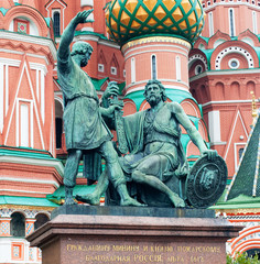 Fototapeta na wymiar Minin and Pozharsky monument in front of St. Basil's Cathedral on Red square, Moscow, Russia