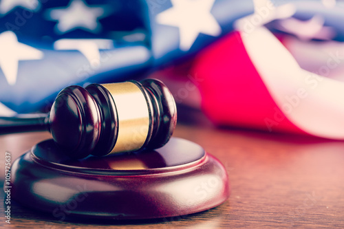 judge gavel and background with usa flag Wallpaper Mural