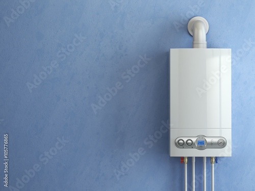 Gas boiler on blue background. Gas boiler home heating. - Buy this ...