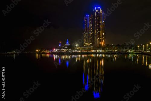 Beach Ancol and scyscraper night view