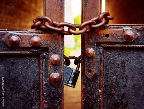 padlock and gate