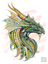 Patterned Head Of The Dragon On The Grunge Background. African / Indian / Totem / Tattoo Design. It May Be Used For Design Of A T-shirt, Bag, Postcard, A Poster And So On.