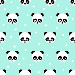 FototapetaPanda with stars seamless pattern on blue background. Cute design for print on baby's clothes. Vector background with smiling baby animal panda. Child style illustration.
