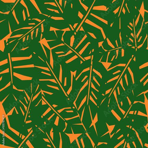 zielony-tropikalny-lisc-bezszwowy-wzor-na-pomaranczowym-tle-palma-pozostawia-tlo-ilustracja-dzungli