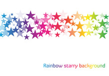 White Background With Line Of Stars In Rainbow Colors With Diffe