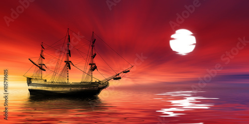 Deurstickers Rood Sailboat against beautiful sunset landscape