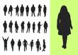 Silhouetten stehender und laufender Menschen