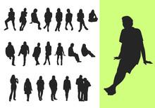 Silhouetten Sitzender Oder Stehender Leute
