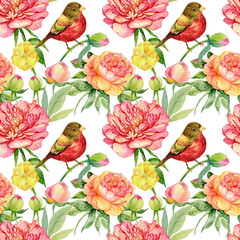 Fototapetaseamless pattern. flowers bird watercolor illustration.the pattern for tactile and Wallpapers
