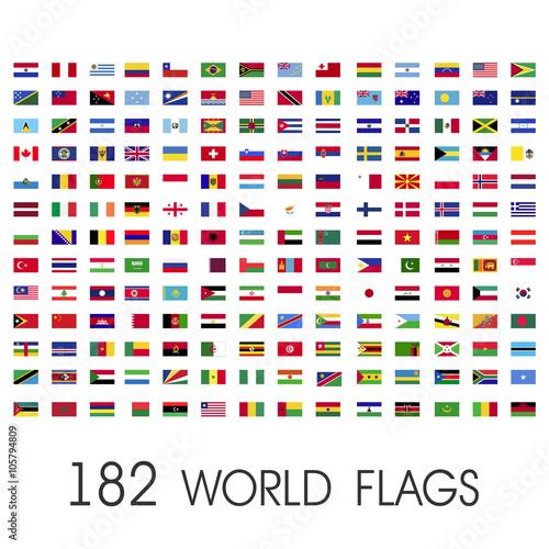 Plakat Grafika wektorowa flagi świata