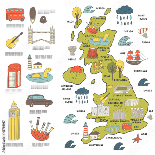 Fotografie, Obraz  Cute hand drawn doodle map of England