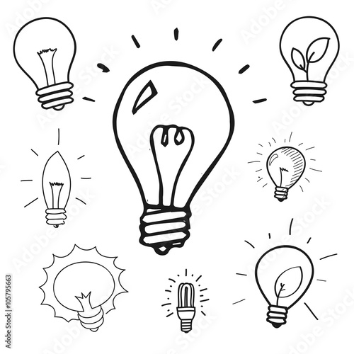 Vector Set Of Hand Drawn Light Bulbs Group Of Doodle Icons
